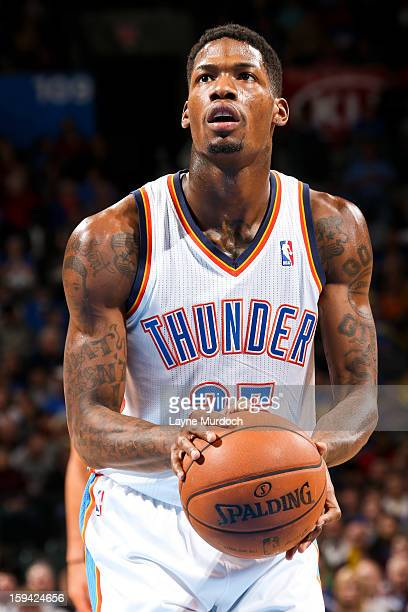 DeAndre Liggins of the Oklahoma City Thunder shoots a freethrow against the Minnesota Timberwolves on January 9 2013 at the Chesapeake Energy Arena...