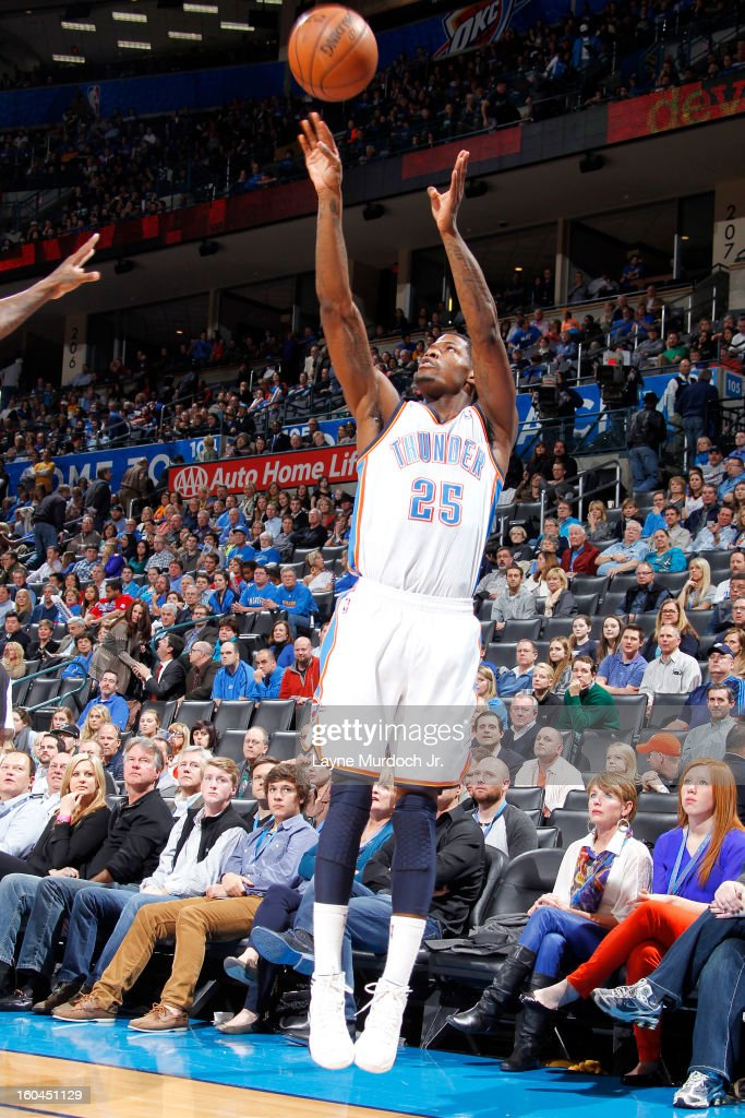 DeAndre Liggins #25 of the Oklahoma City Thunder shoots over the Memphis Grizzlies during an NBA game on January 31, 2013 at the Chesapeake Energy Arena in Oklahoma City, Oklahoma.