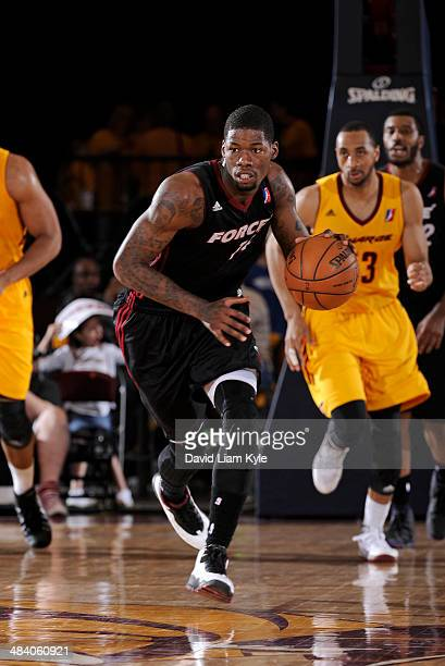 DeAndre Liggins of the Sioux Falls Skyforce brings the ball up the court against the Canton Charge at the Canton Memorial Civic Center on April 10...