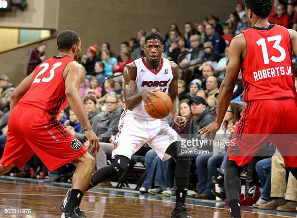 DeAndre Liggins of the Sioux Falls Skyforce dribbles the ball against the Raptors 905 at the Sanford Pentagon December 22 2015 in Sioux Falls South...