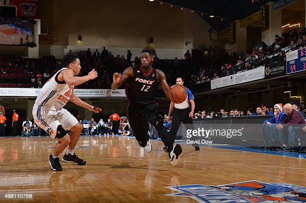 DeAndre Liggins of the Sioux Falls Skyforce drives to the basket against the Westchester Knicks on November 20 2015 at the Westchester County Center...