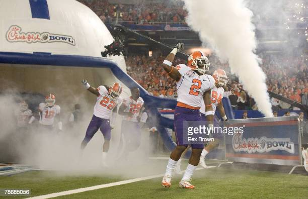 DeAndre McDaniel of the Clemson Tigers comes onto the field prior to the game with the Auburn Tigers during the ChickFilA Bowl on December 31 2007 at...