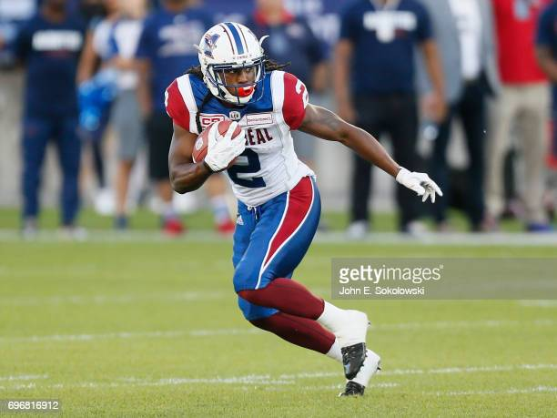 Deandre Reaves of the Montreal Alouettes returns a kick against the Toronto Argonauts during a CFL preseason game at BMO field on June 8 2017 in...