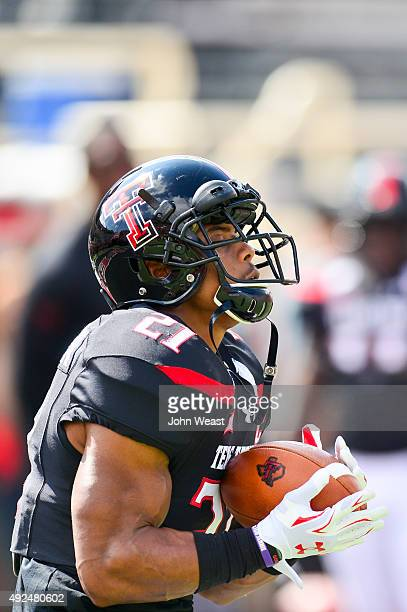 DeAndre Washington of the Texas Tech Red Raiders warming up prior to the game against the Iowa State Cyclones on October 10 2015 at Jones ATT Stadium...