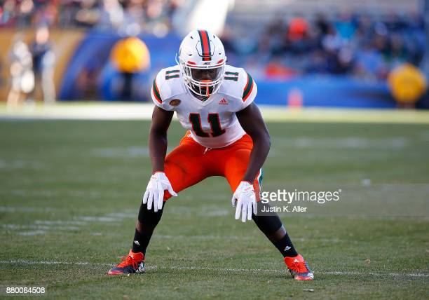 De'Andre Wilder of the Miami Hurricanes in action against the Pittsburgh Panthers on November 24 2017 at Heinz Field in Pittsburgh Pennsylvania