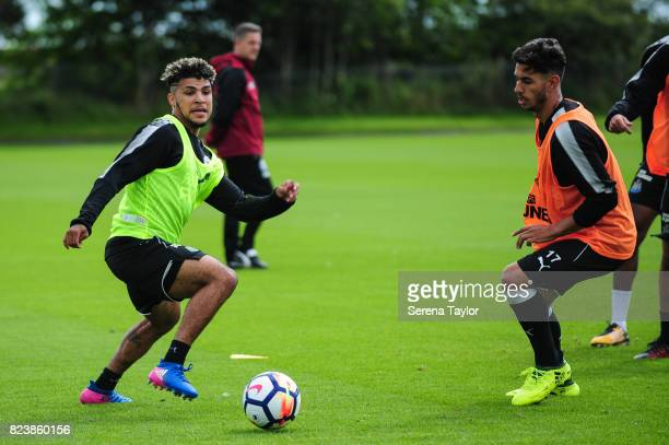 DeAndre Yedlin and Ayoze Perez run to the ball during the Newcastle United Training session at the Newcastle United Training ground on July 28 in...