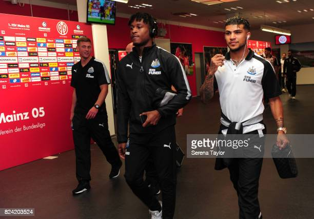 DeAndre Yedlin and Rolando Aarons of Newcastle United arrives for the Pre Season Friendly match between FSV Mainz 05 and Newcastle United at Opel...