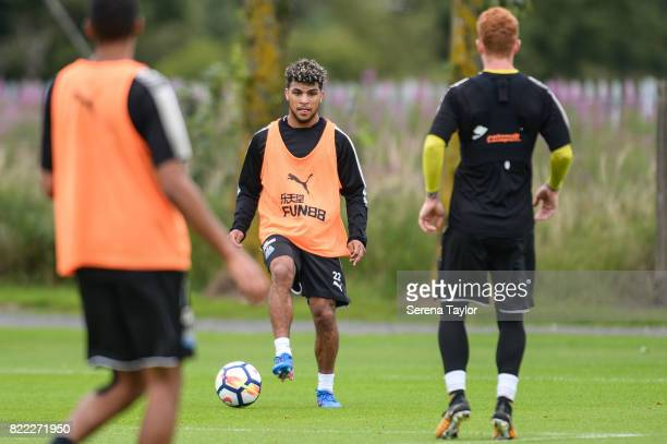 DeAndre Yedlin controls the ball during the Newcastle United Training session at the Newcastle United Training ground on July 25 in Newcastle upon...