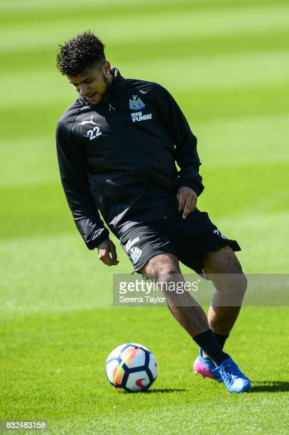 DeAndre Yedlin controls the ball during the Newcastle United Training session at the Newcastle United Training Centre on August 16 in Newcastle upon...