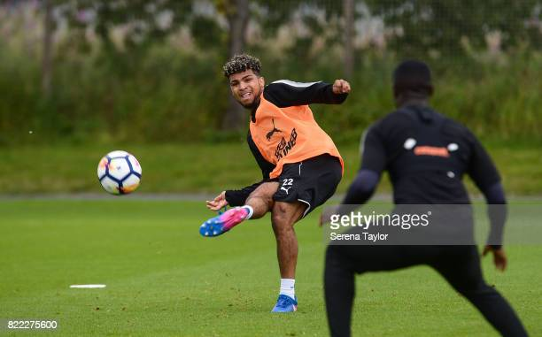DeAndre Yedlin crosses the ball during the Newcastle United Training session at the Newcastle United Training ground on July 25 in Newcastle upon...