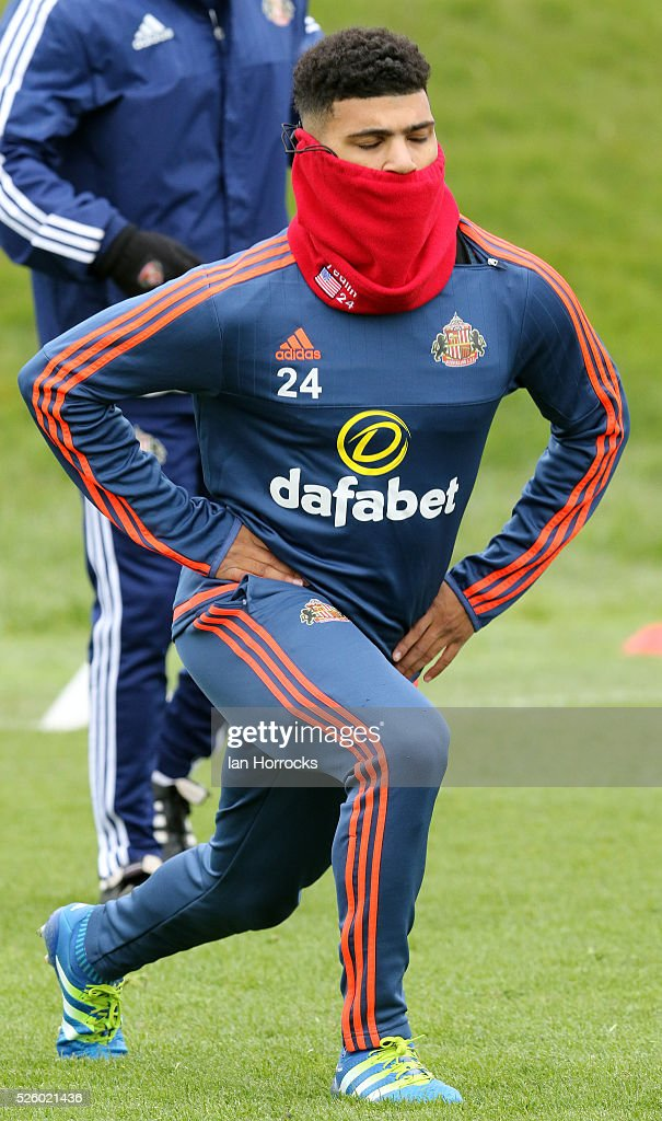 DeAndre Yedlin during a Sunderland AFC training session at The Academy of Light on April 29, 2016 in Sunderland, England.