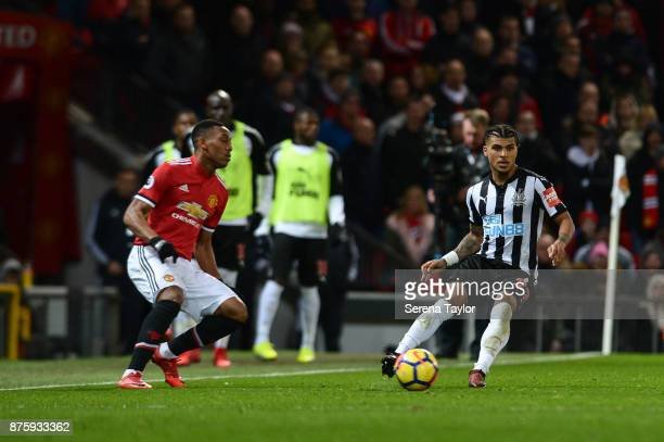 DeAndre Yedlin of Newcastle United controls the ball during the Premier League match between Manchester United and Newcastle United at Old Trafford...