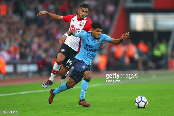 Deandre Yedlin of Newcastle United evades Sofiane Boufal of Southampton during the Premier League match between Southampton and Newcastle United at...
