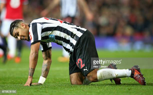 Deandre Yedlin of Newcastle United looks dejected during the Premier League match between Manchester United and Newcastle United at Old Trafford on...