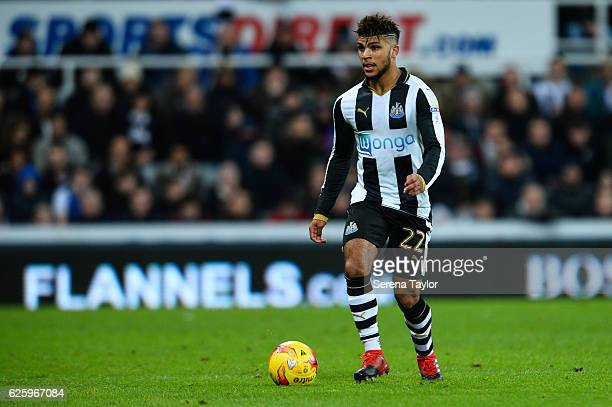 DeAndre Yedlin of Newcastle United looks to pass the ball during the Sky Bet Championship match between Newcastle United and Blackburn Rovers at...