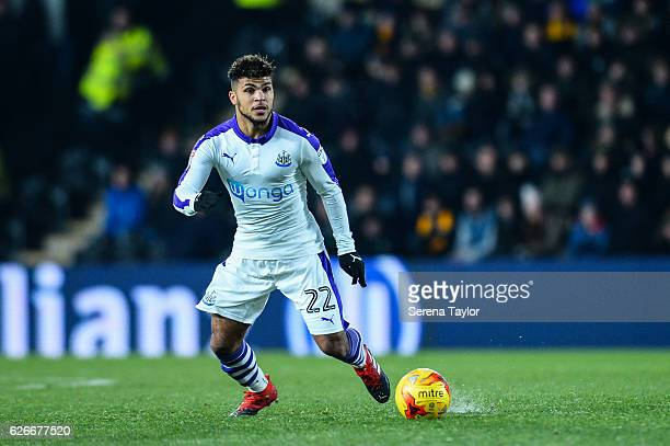 DeAndre Yedlin of Newcastle United looks to pass the ball during the EFL Cup Quarter Final between Hull City and Newcastle United at KCOM Stadium on...