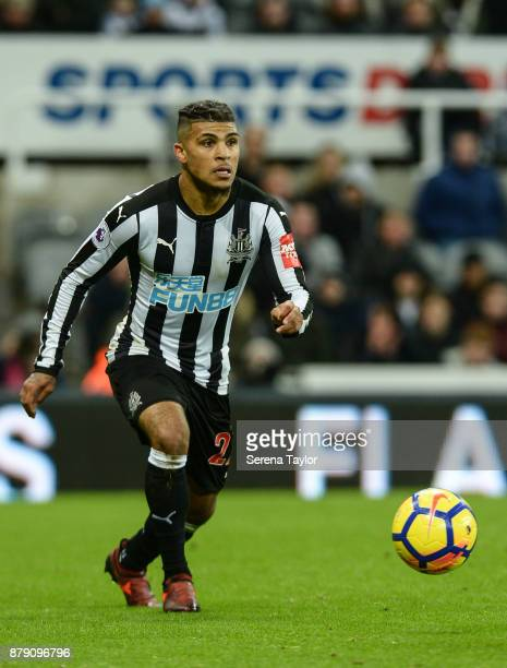 DeAndre Yedlin of Newcastle Untited looks to pass the ball during the Premier League match between Newcastle United and Watford FC at StJames' Park...