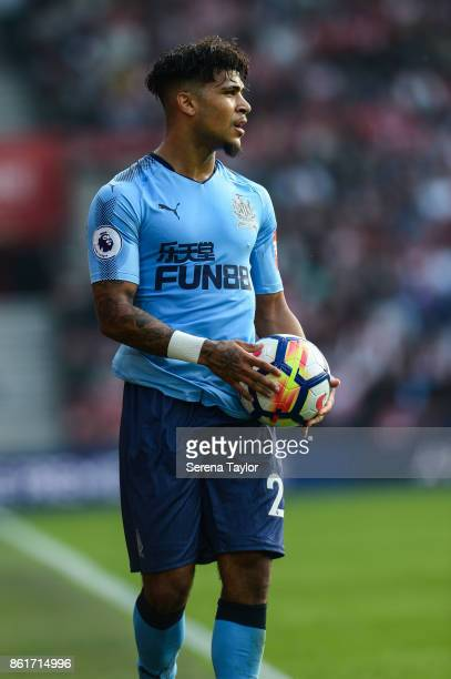 DeAndre Yedlin of Newcastle Untited looks to throw the ball into play during the Premier League match between Southampton and Newcastle United at...