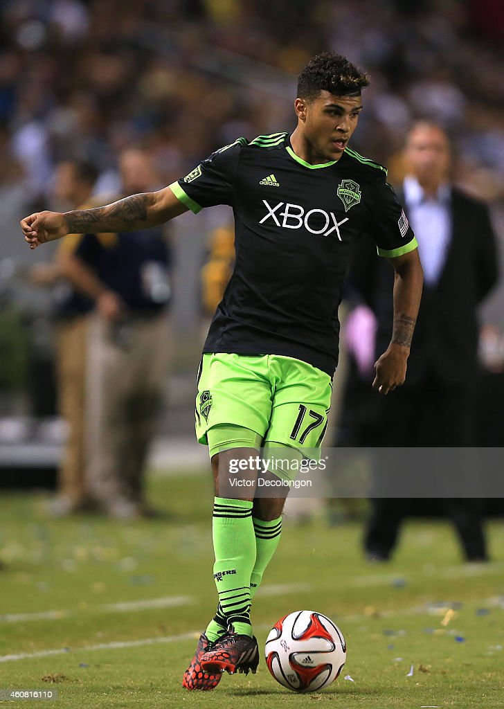 DeAndre Yedlin #17 of Seattle Sounders FC controls the ball during the MLS match against the Los Angeles Galaxy at StubHub Center on October 19, 2014 in Los Angeles, California. The Sounders and Galaxy played to a 2-2 draw.