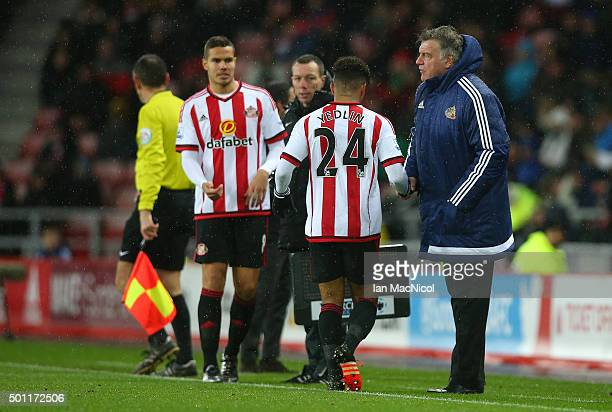DeAndre Yedlin of Sunderland is substituted during the Barclays Premier League match between Sunderland and Watford at The Stadium of Light on...