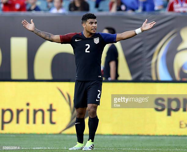 DeAndre Yedlin of United States reacts in the first half against Paraguay during the Copa America Centenario Group C match at Lincoln Financial Field...