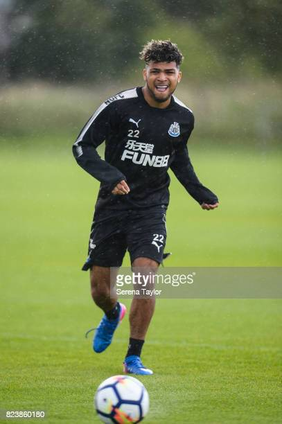 DeAndre Yedlin passes the ball during the Newcastle United Training session at the Newcastle United Training ground on July 28 in Newcastle upon Tyne...