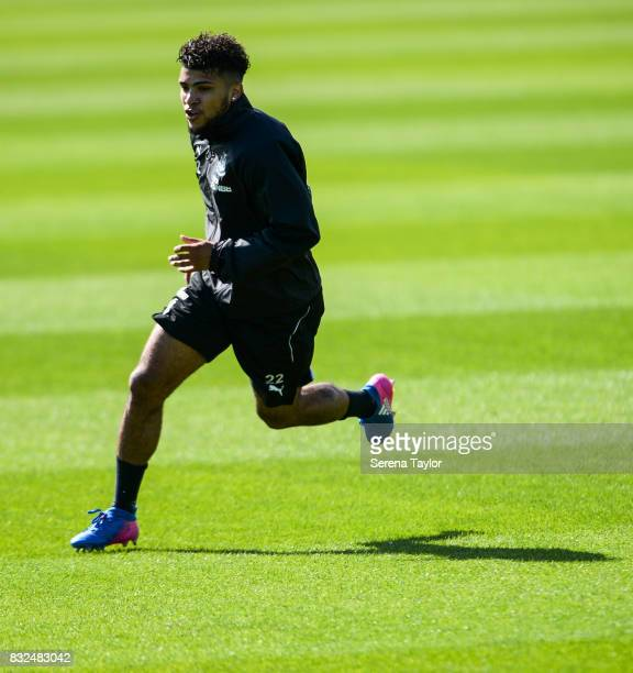 DeAndre Yedlin runs during the Newcastle United Training session at the Newcastle United Training Centre on August 16 in Newcastle upon Tyne England