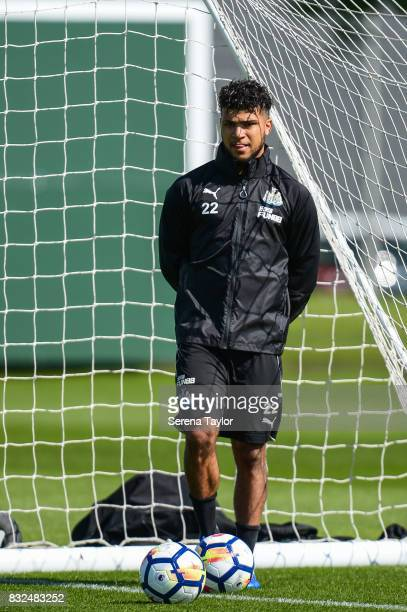 DeAndre Yedlin stands in the goalmouth foot on the ball during the Newcastle United Training session at the Newcastle United Training Centre on...