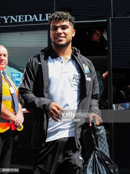DeAndre Yedlin steps off the bus as the team arrive for the Pre Season Friendly match between Preston North End and Newcastle United at Deepdale on...