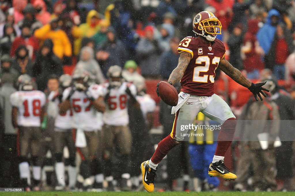 DeAngelo Hall of the Washington Redskins celebrates a fumble recovery that lead to a touchdown against the Tampa Bay Buccaneers at FedExField on...