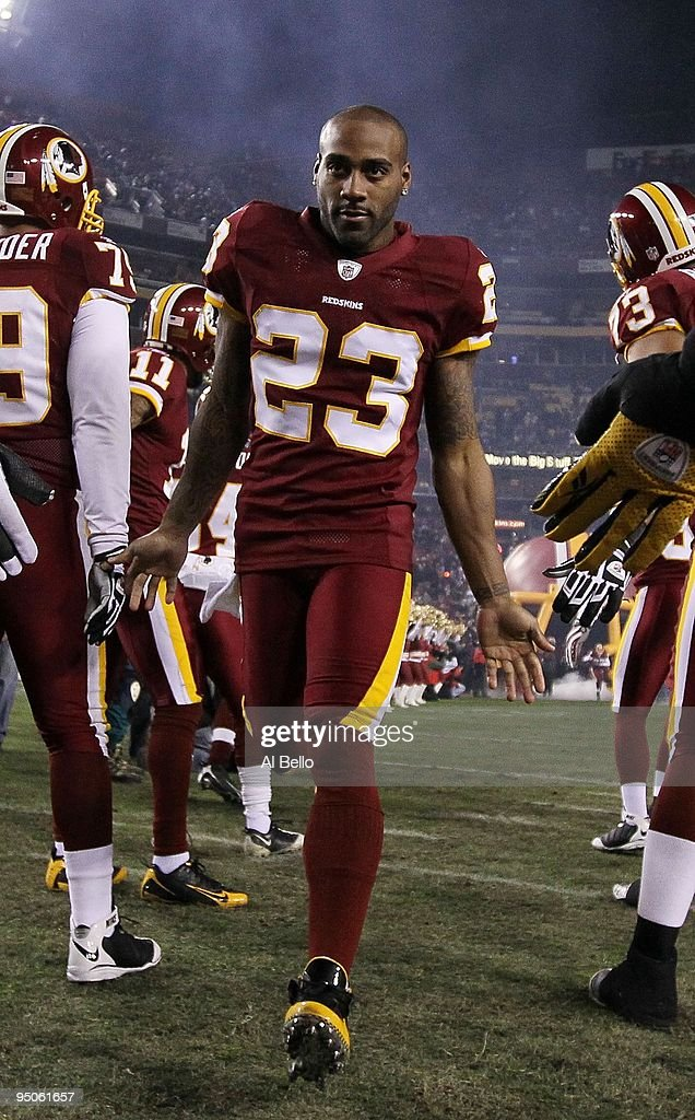 DeAngelo Hall of the Washington Redskins is introduced before the game against the New York Giants during their game on December 21 2009 at Fedex...