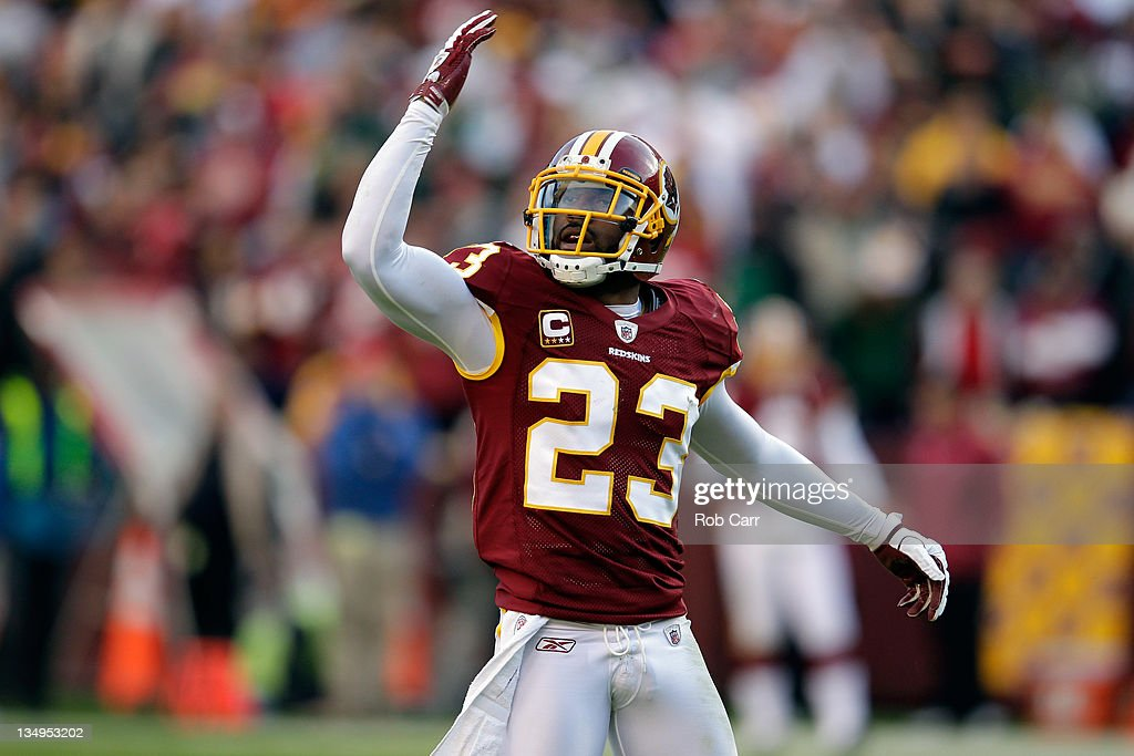 DeAngelo Hall of the Washington Redskins motions to the crowd against the New York Jets at FedExField on December 4 2011 in Landover Maryland