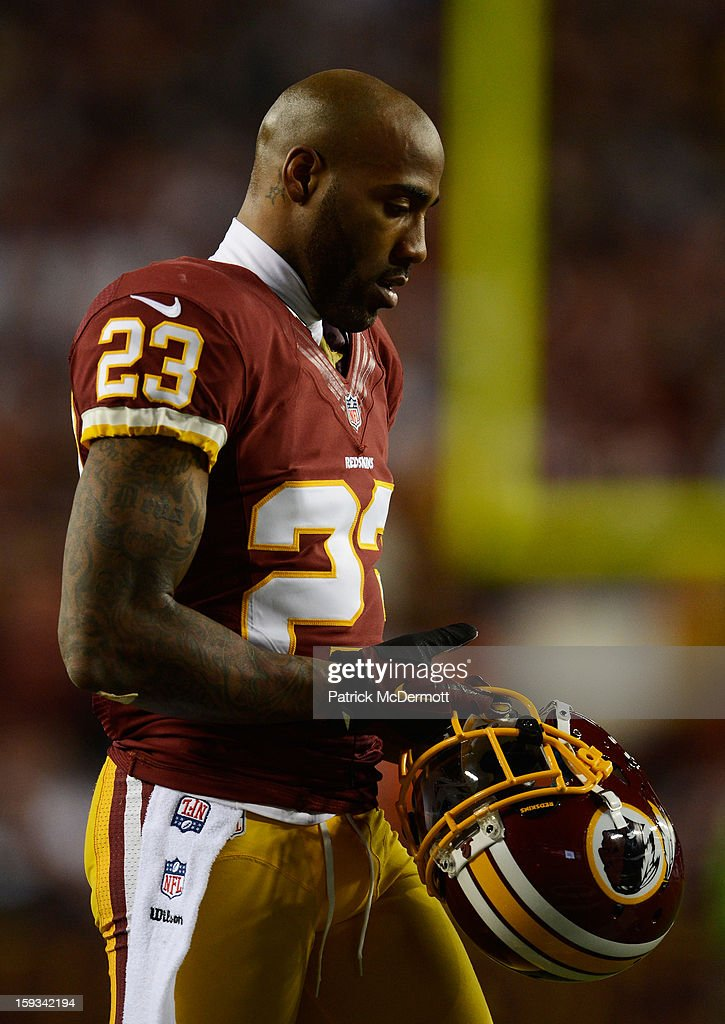 DeAngelo Hall of the Washington Redskins reacts during the NFC Wild Card Playoff Game against the Seattle Seahawks at FedExField on January 6 2013 in...