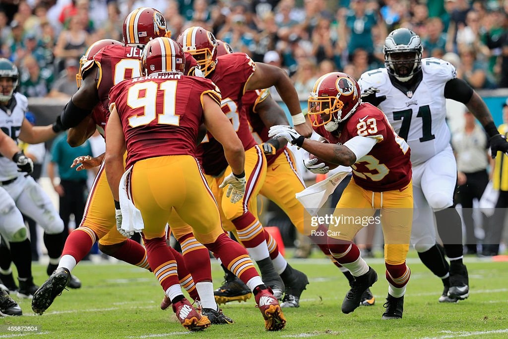 DeAngelo Hall of the Washington Redskins returns a fumble in the second quarter against the Philadelphia Eagles at Lincoln Financial Field on...