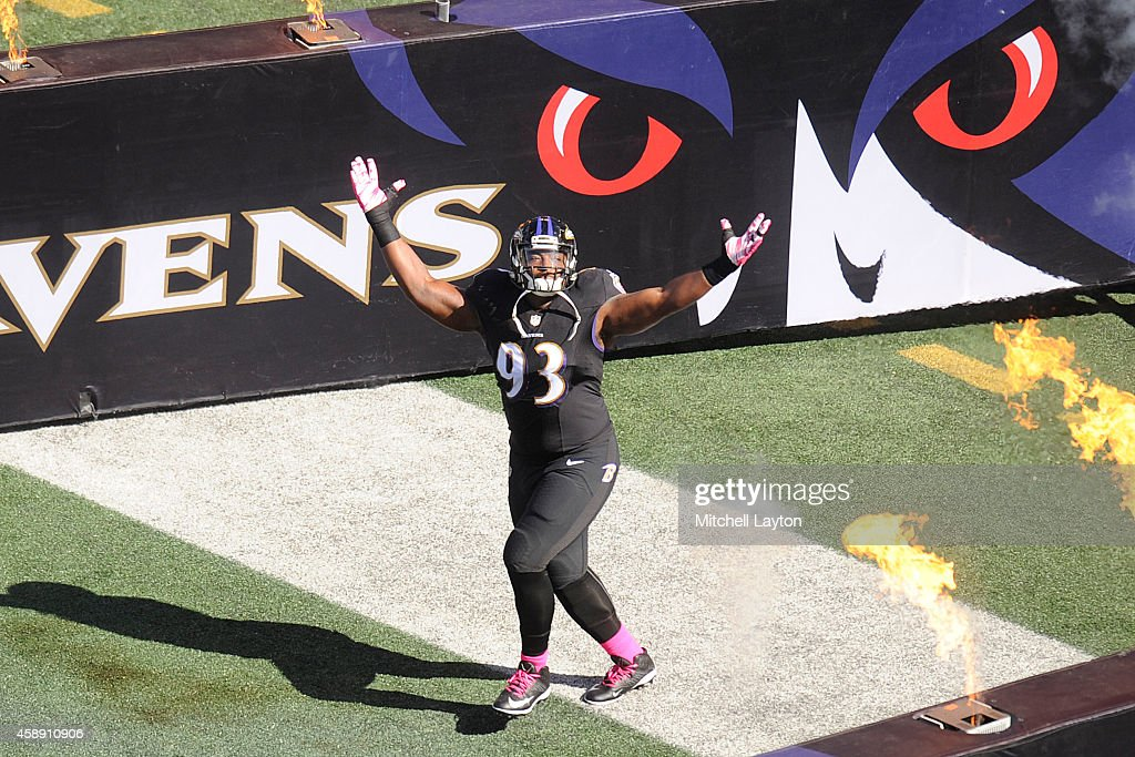 DeAngelo Tyson of the Baltimore Ravens during introductions before a NFL football game against the Atlanta Falcons at MT Bank Stadium on October 19...