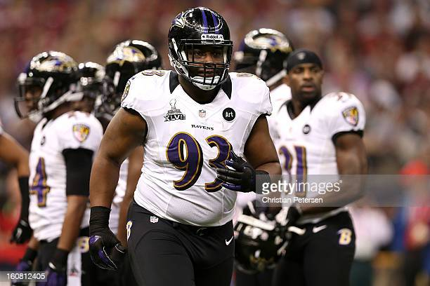 DeAngelo Tyson of the Baltimore Ravens runs off of the field against the San Francisco 49ers during Super Bowl XLVII at the MercedesBenz Superdome on...
