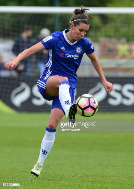 Deanna Cooper of Chelsea during the FA WSL 1 match between Chelsea Ladies and Yeovil Town Ladies at Wheatsheaf Park on April 30 2017 in Staines...