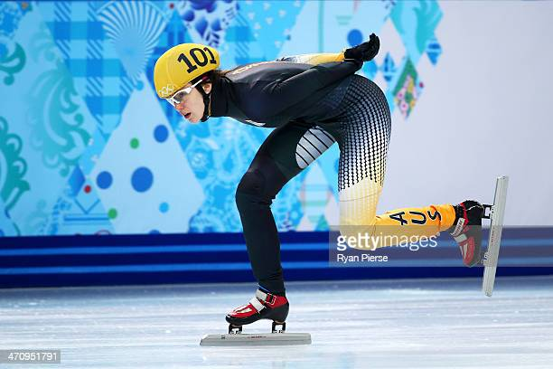 Deanna Lockett of Australia competes in the Short Track Women's 1000m Quarterfinals on day fourteen of the 2014 Sochi Winter Olympics at Iceberg...