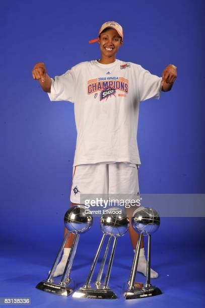Deanna Nolan of the Detroit Shock poses for a portrait after winning Game Three of the WNBA Finals against the San Antonio Silver Star on October 5...