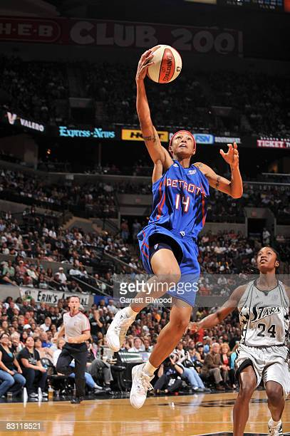Deanna Nolan of the Detroit Shock shoots against Morenike Atunrase of the San Antonio Silver Stars in Game Two of the WNBA Finals on October 3 2008...