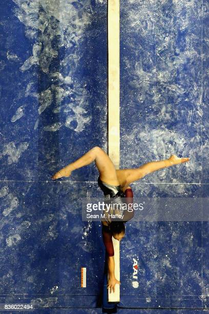 Deanne Soza competes on the Balance Beam during the PG Gymnastics Championships at Honda Center on August 20 2017 in Anaheim California