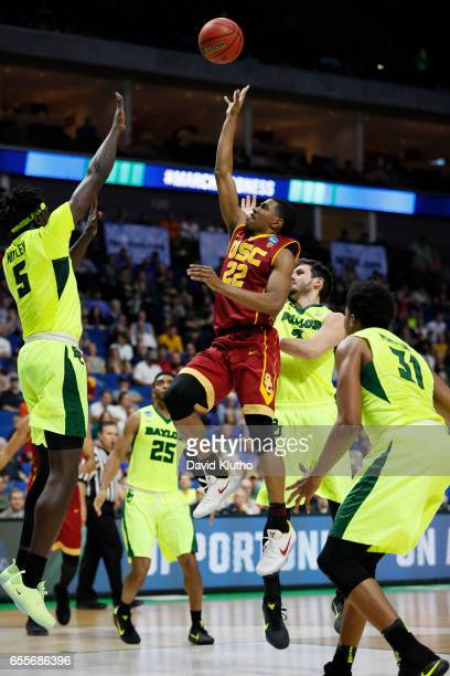 De'Anthony Melton of the USC Trojans attempts a floating jump shot during the 2017 NCAA Men's Basketball Tournament held at BOK Center on March 19...
