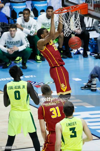 De'Anthony Melton of the USC Trojans dunks during the 2017 NCAA Men's Basketball Tournament held at BOK Center on March 19 2017 in Tulsa Oklahoma