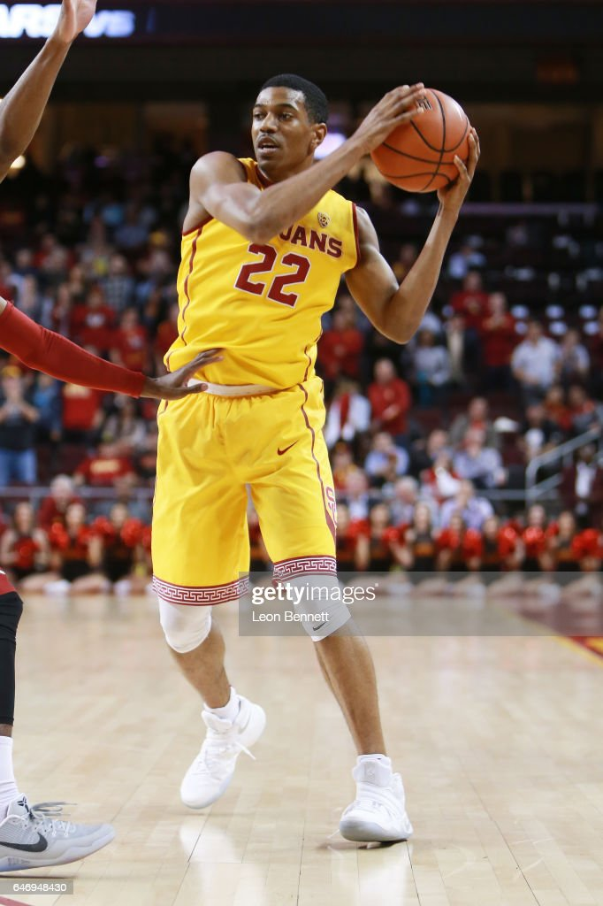 De'Anthony Melton #22 of the USC Trojans handles the ball against the Washington State Cougars during a Pac12 conference college basketball game at Galen Center on March 1, 2017 in Los Angeles, California.