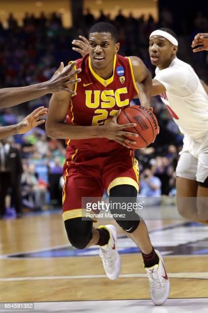 De'Anthony Melton of the USC Trojans handles the ball in the second half against the Southern Methodist Mustangs during the first round of the 2017...
