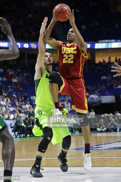De'Anthony Melton of the USC Trojans is defended by Jake Lindsey of the Baylor Bears during the second round of the 2017 NCAA Men's Basketball...