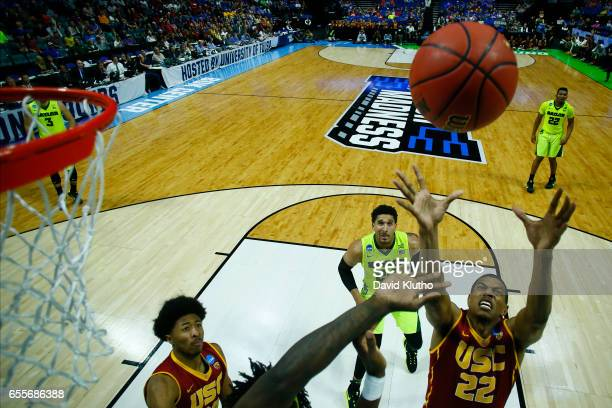 De'Anthony Melton of the USC Trojans reaches for a rebound during the 2017 NCAA Men's Basketball Tournament held at BOK Center on March 19 2017 in...