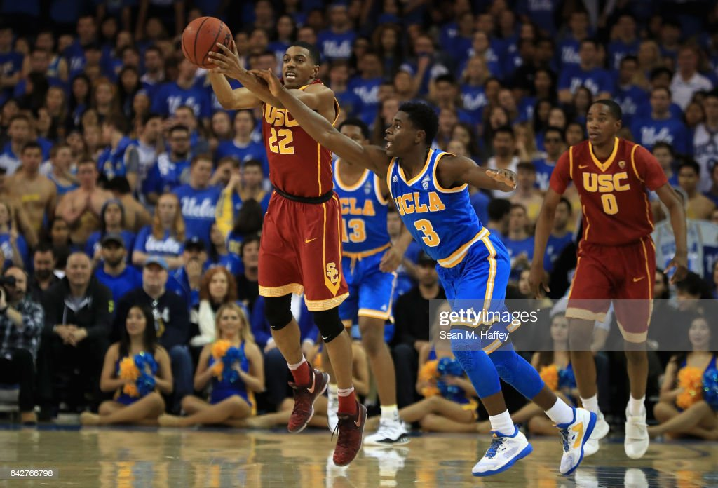 De'Anthony Melton #22 of the USC Trojans steals the ball from Aaron Holiday #3 of the UCLA Bruins during the first half of a game at Pauley Pavilion on February 18, 2017 in Los Angeles, California.