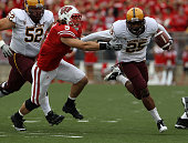 Deantre Lewis of the Arizona State Sun Devils tries to break away from Blake Sorensen of the Wisconsin Badgers at Camp Randall Stadium on September...