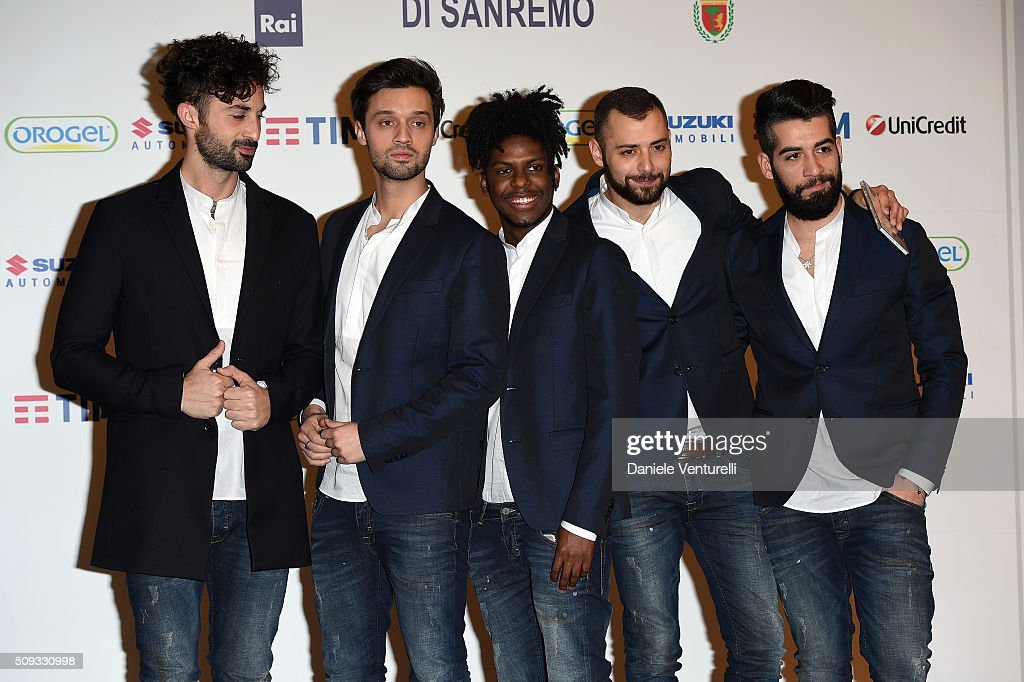 Dear Jack attends a photocall at 66. Sanremo Festival on February 10, 2016 in Sanremo, Italy.